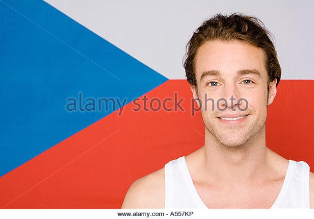 Man with a czech flag - Stock-Bilder