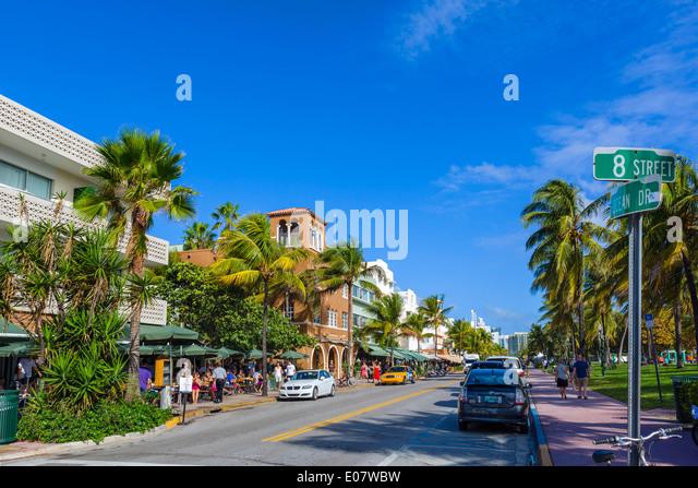 Ocean Drive at 8th Street, South Beach, Miami Beach, Florida, USA - Stock Image