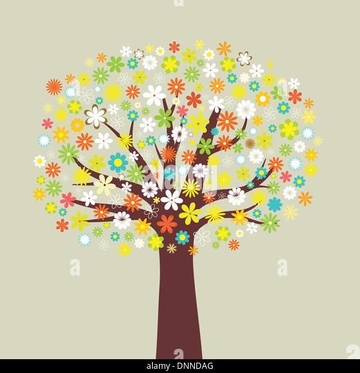 Illustration of a tree of many flowers - Stock-Bilder