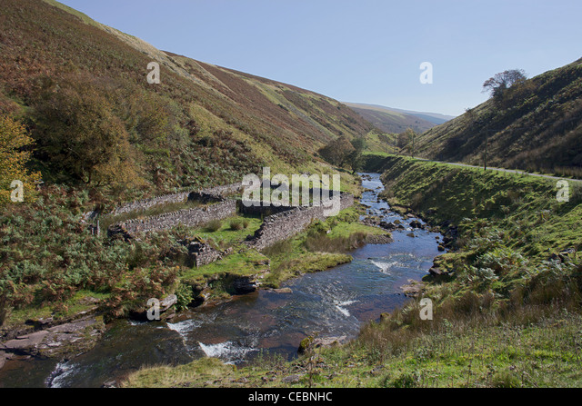The Vale of Ewyas approaching the Grwyne Fawr Reservoir in the Black Mountains of Gwent Monmouthshire Wales - Stock Image