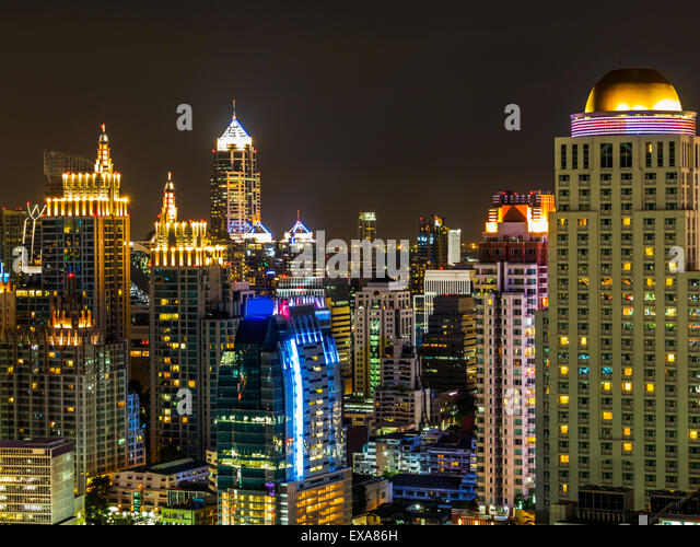 View of Skylines in Bangkok at night, Thailand - Stock Image