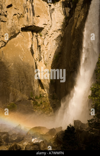 Yosemite Falls Rainbow in the Mist - Stock Image