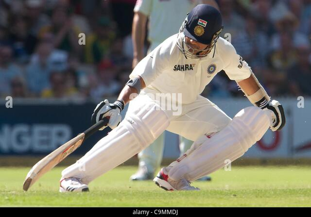 26.01.2012 Adelaide, Australia. Sachin Tendulkar India in action during the second day of the 4th cricket test match - Stock-Bilder