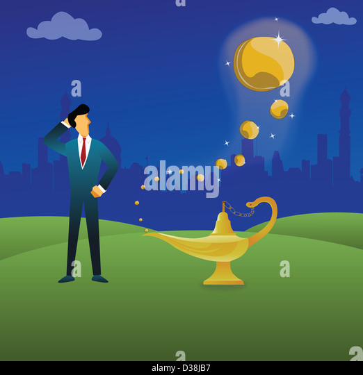 Businessman standing next to a magical lamp - Stock Image