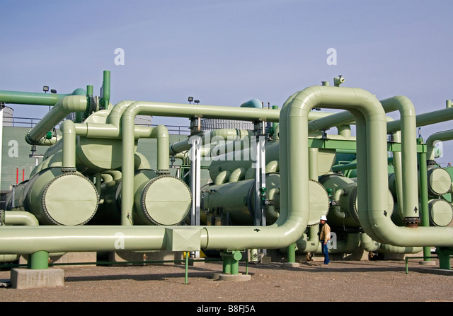 The workings of a geothermal powered electric generating plant in Malta Idaho USA - Stock Image