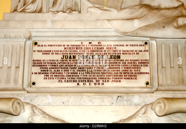 Inscription on tomb of Juan Ponce de Leon, Old San Juan Cathedral, San Juan  Puerto Rico - Stock Image