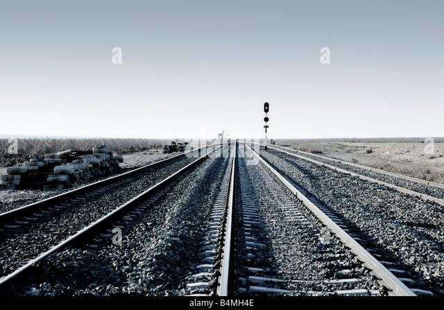 An empty railway track - Stock Image