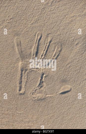 Text written in the beach - Stock-Bilder