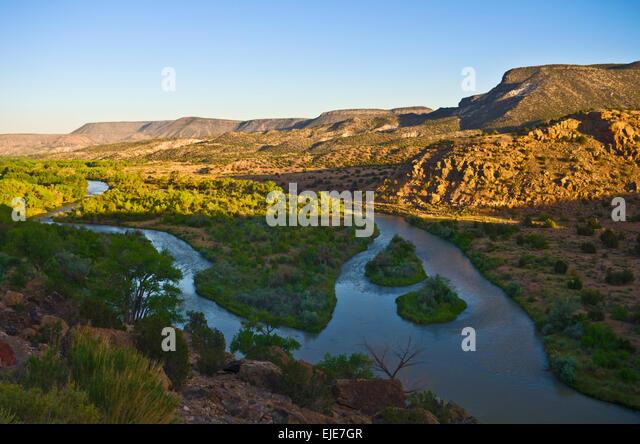 The Chama river near Abiquiu, New Mexico.  This area Georgia O'Keeffe painted. - Stock Image
