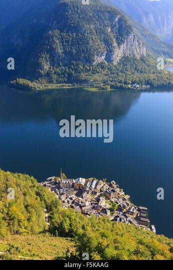 Aerial view on Hallstatt, in upper Austria is a village in the Salzkammergut, a region in Austria. - Stock Image