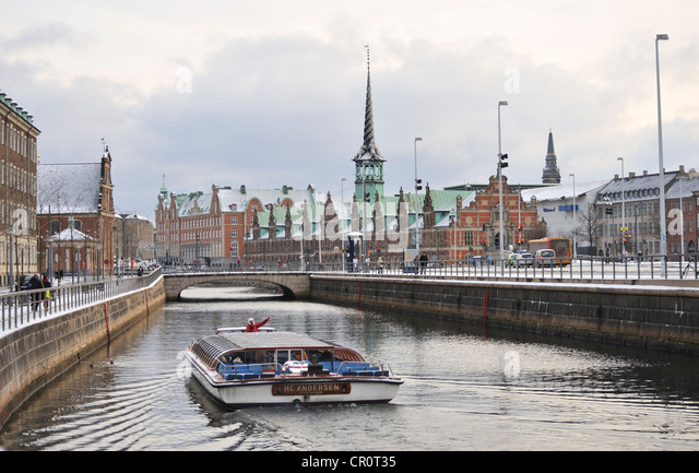 Frederiksholms  Canal in winter, Copenhagen, Denmark - Stock Image