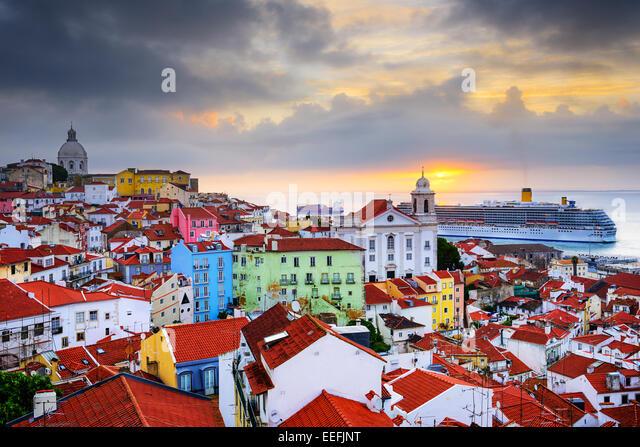 Lisbon, Portugal sunrise skyline at Alfama District. - Stock Image