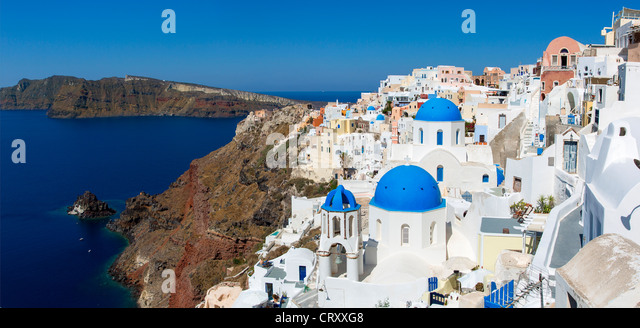 Greece Santorini Oia Blue Dome Orthodox Church - Stock Image