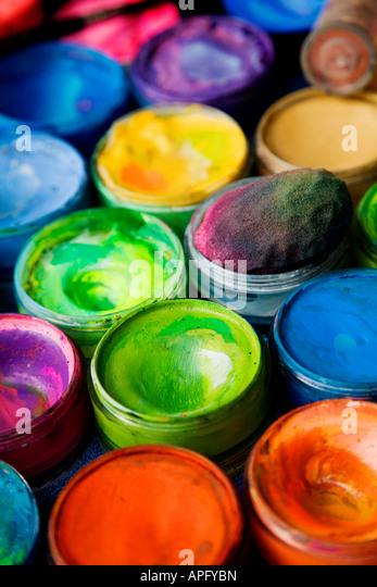 Open paint pots - Stock Image