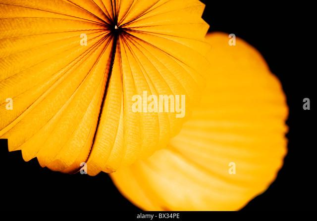 Chinese paper lantern in illuminating orange light at night - Stock Image