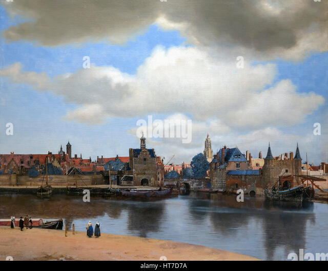 View of Delft, by Johannes Vermeer, circa 1660-1, Royal Art Gallery, Mauritshuis Museum, The Hague, Netherlands, - Stock Image