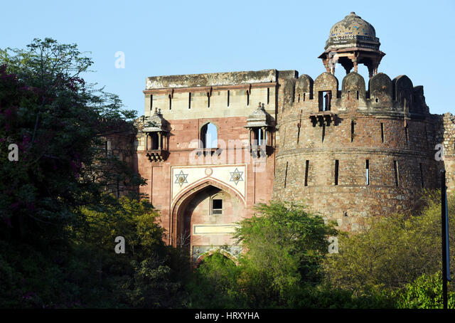 Purana Qila (Old Fort) in New Delhi. Purana Qila is a 16th century fort in New  Delhi. - Stock Image