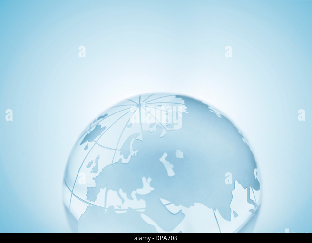 Glass sphere representing Europe, Russia, Middle East, China and India - Stock-Bilder