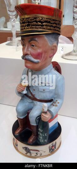 Toby jug of Marshal Foch by Arthur J Wilkinson Ltd and designed by Francis Carruthers Gould. Dated 1918 - Stock Image