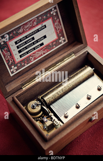 An old-fashioned music box close-up - Stock Image