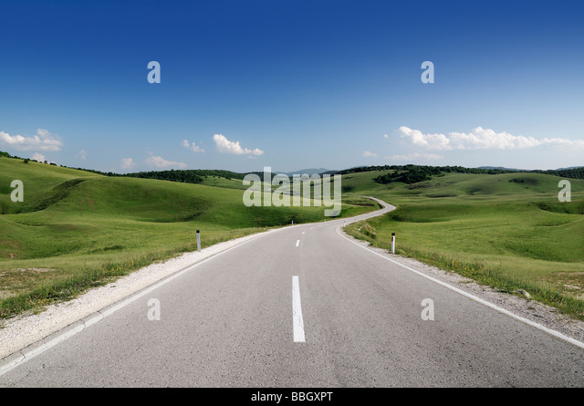 Road Through the Hills of Bosnia Herzegovina - Stock Image