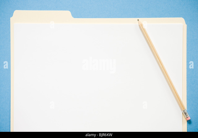 blank file folder and pencil - Stock Image