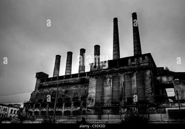 Ancient concrete factory - Stock Image