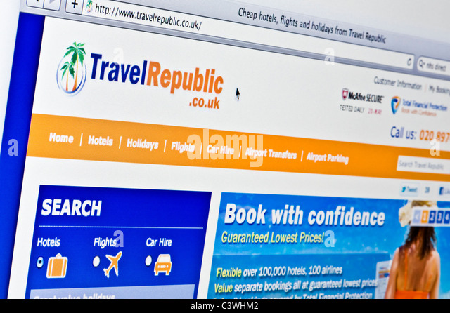 Close up of the Travel Republic logo as seen on its website. (Editorial use only: print, TV, e-book and editorial - Stock-Bilder