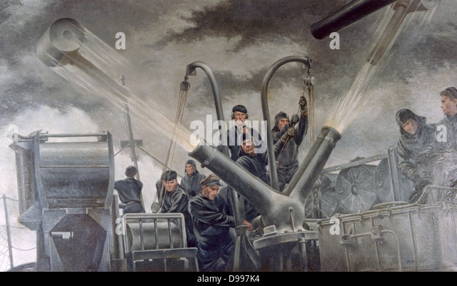 World War II 1939-1945: 'Tossing the Cans - Atlantic Patrol', 1941. Tom Lea (1907-2001) American painter. - Stock Image