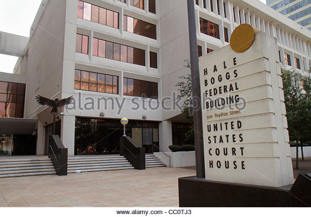 Louisiana New Orleans Poydras Street Hale Boggs Federal Building government United States Courthouse eagle plaza - Stock Image
