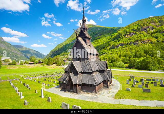 Borgund Stave Church, Sogn og Fjordane, Norway - Stock-Bilder