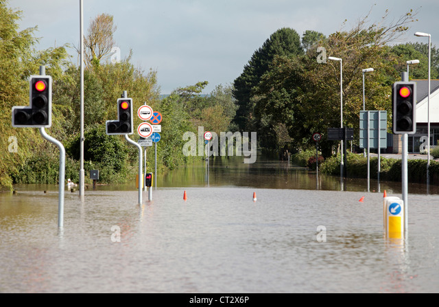 Weymouth Rains Flood the Town Prior to the Weymouth Sailing Olympics This Month - Stock Image