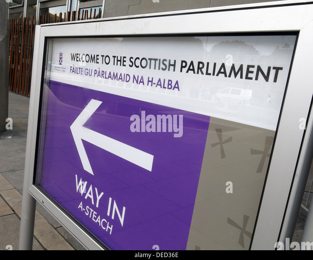 Welcome to the Scottish Parliament / Government in Edinburgh, which would be home of an independent Scotland - Stock Image