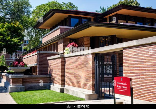Chicago Illinois Hyde Park Frederick C. Robie House National Historic Landmark campus University of Chicago architect - Stock Image