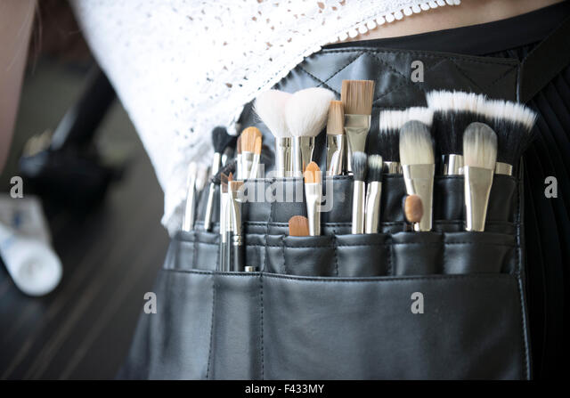 Makeup artist's brush pouch, close-up - Stock Image