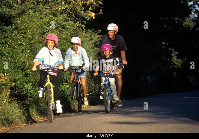 family on bike ride - Stock Image