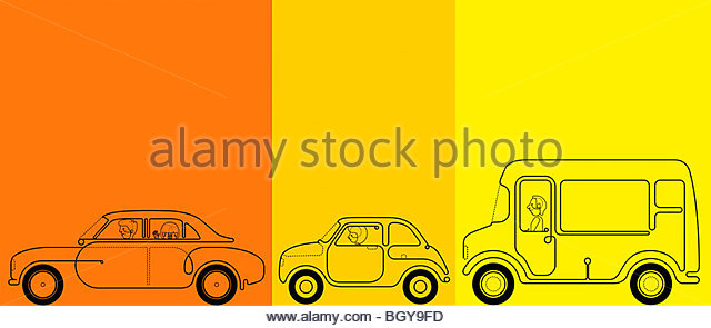 Cars and bus driving - Stock Image