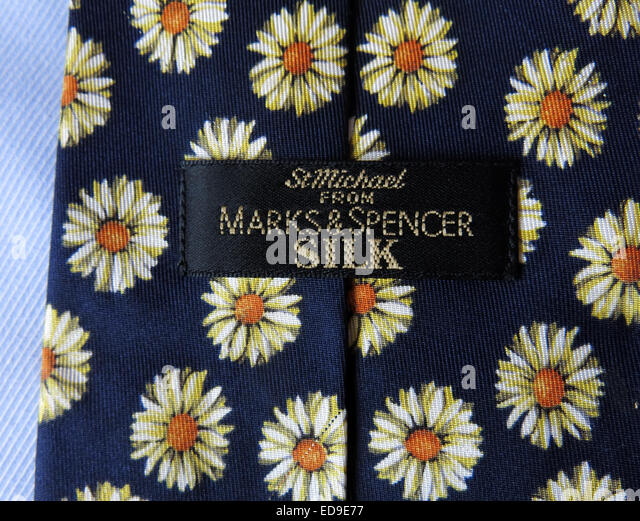 Interesting St Michael M&S Marks & Spencer tie, male neckware in silk - Stock Image