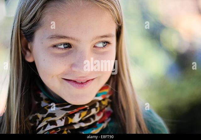 Spain, Barcelona, Portrait of girl - Stock Image