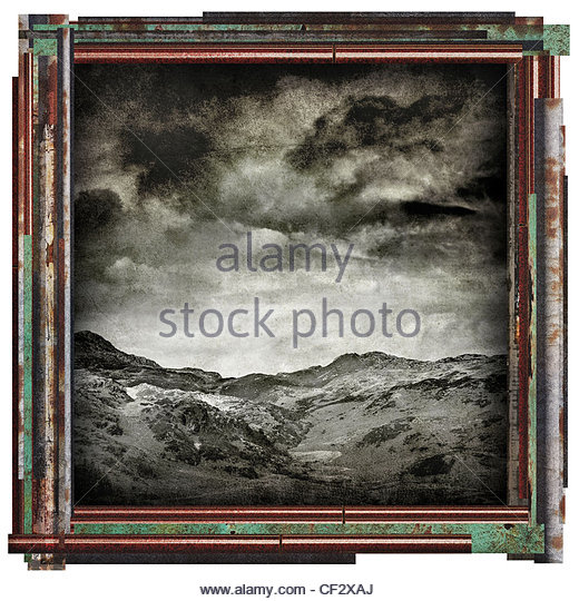 grunge landscape picture - Stock Image