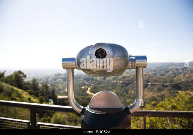 Telescope in griffith park with view of downtown los angeles - Stock-Bilder