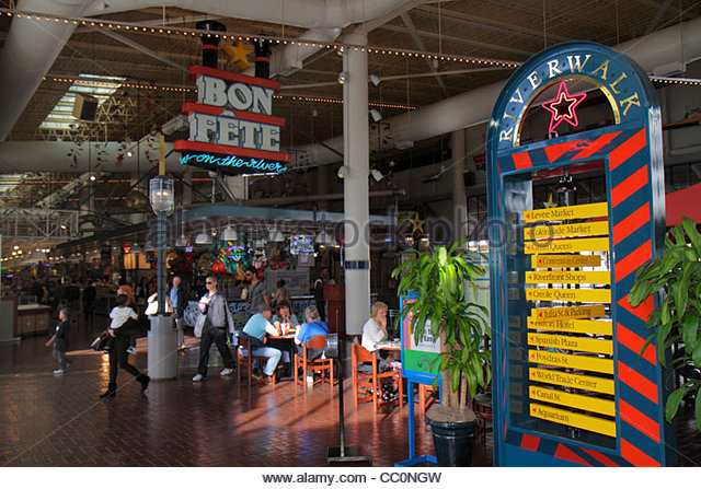 New Orleans Louisiana Port of New Orleans Riverwalk Marketplace entertainment shopping riverfront mall directory - Stock Image