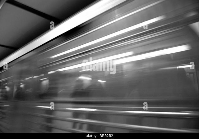 METRO TRAIN IN MOTION - Stock Image