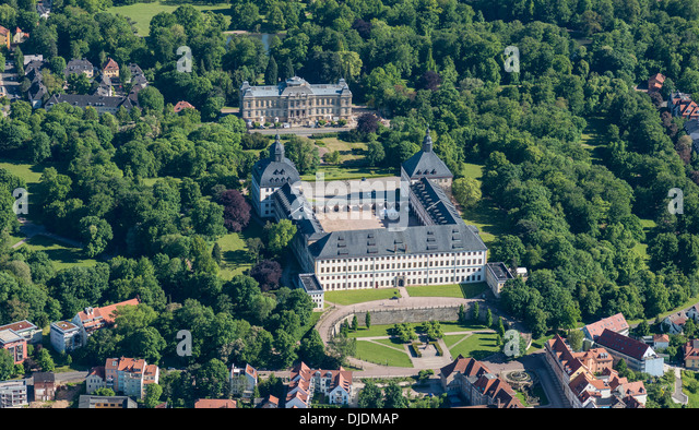 Friedenstein Castle and park, the Natural History Museum at back, Gotha, Thuringia, Germany - Stock Image