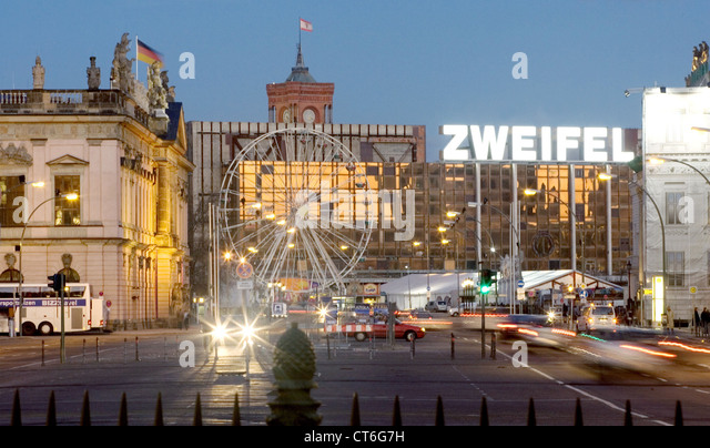 Berlin, city view of the city with the word DOUBT - Stock Image