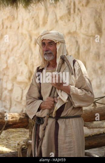 An Actor Portrays a Shepherd at Nazareth Village, Israel, in 2016 - Stock-Bilder