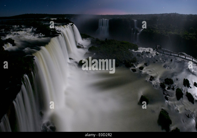Iguazu Falls by moonlight, photographed from Brazilian side, State of Parana, Brazil. - Stock-Bilder