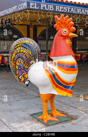 Rooster outside El pub, Little Havana, Miami - Stock Image