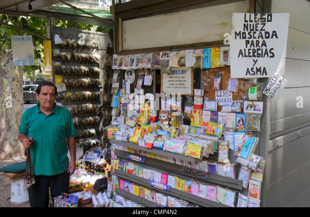 Santiago Chile Providencia Avenida Vicuna Mackenna kiosk herbal remedies alternative medicine traditional Hispanic - Stock Image