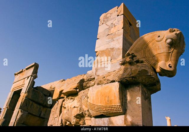 Horse statue, Persepolis, Fars Province, Iran - Stock Image